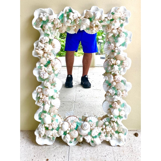 Contemporary Coastal Custom Shell and Sea Glass Mirror For Sale - Image 10 of 10