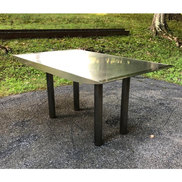 Modern Stanley Friedman Stainless Steel Dining Table for Brueton For Sale - Image 3 of 13