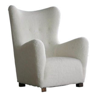 Fritz Hansen Danish Model 1672 Lambswool Covered High Back Lounge Chair, 1940s For Sale