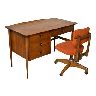 1960s Mid-Century Modern Basset Walnut Desk & Chair Set - 2 Pieces For Sale