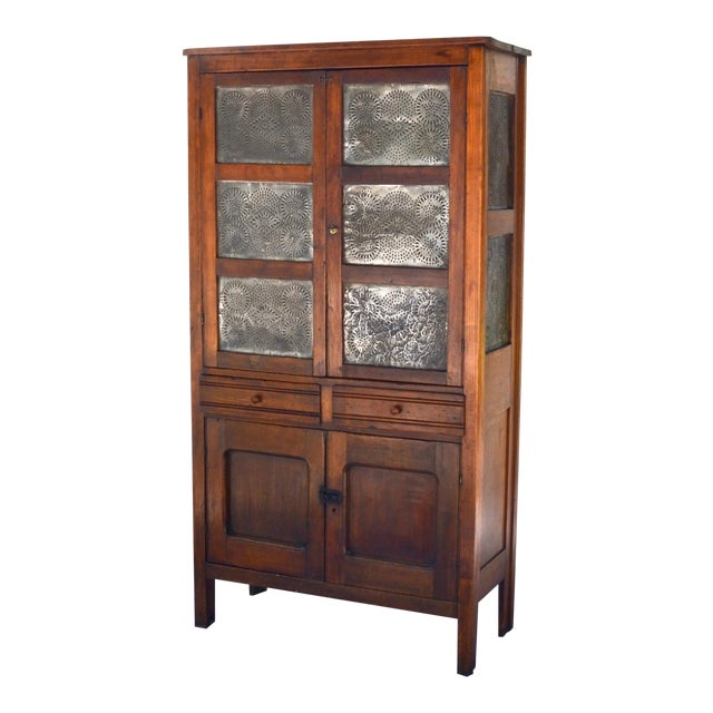 Antique Walnut/Pine 10 Punched Tin Panel Pie Safe Cabinet For Sale