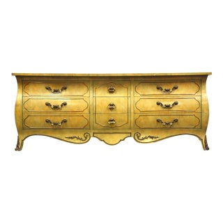 Mastercraft Burl & Brass Long Dresser For Sale