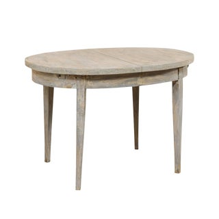 Swedish Mid-Century Painted Wood Oval Occasional Table in Soft Blue-Grey For Sale