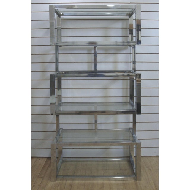 Incredibly cool mirror finish chrome etagere shelf unit with a floating cube design and attributed to Milo Baughman....