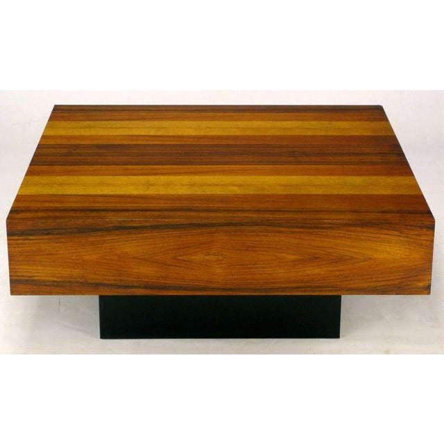 Danish Modern Danish Exotic Wood Parquetry Top Square Coffee Table For Sale - Image 3 of 6