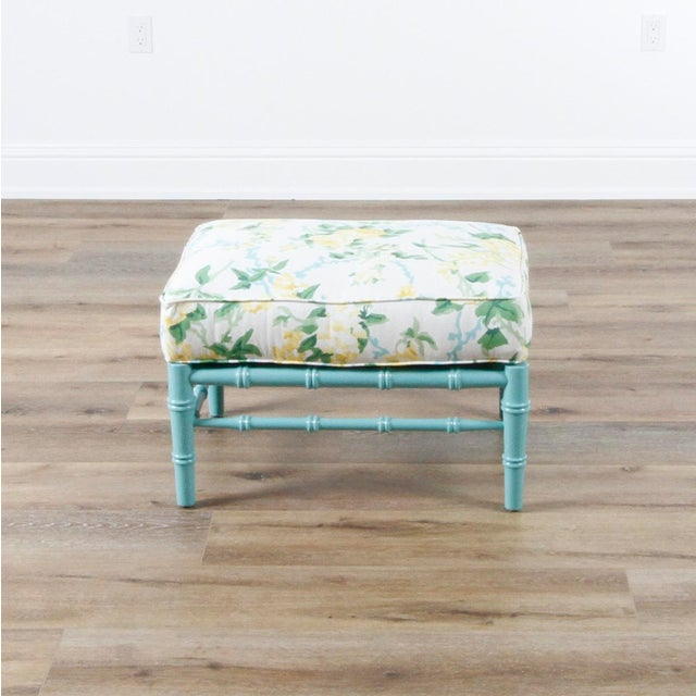 Fabric Transitional Sky Blue and White Floral Cottonwood Ottoman For Sale - Image 7 of 7