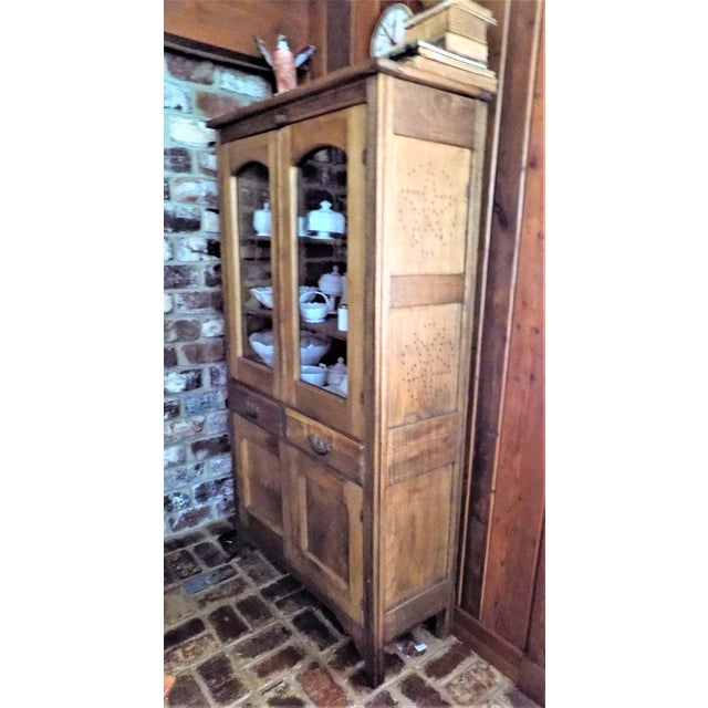 Country Antique Primitive Glass Door Pie Safe China Cabinet Cupboard For  Sale - Image 3 of - Antique Primitive Glass Door Pie Safe China Cabinet Cupboard Chairish