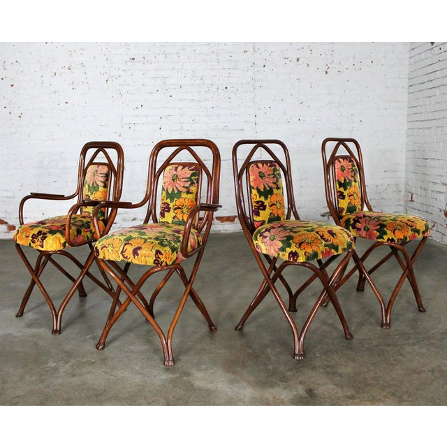 Art Deco Antique Gebruder Thonet Bentwood Chairs - Set of 4 For Sale - Image 3 of 11