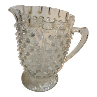 1950s Vintage Mid Century Hobnail Textured Clear Glass Pitcher For Sale
