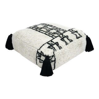 Vintage Mid Century Grey and Black Berber Pouf For Sale