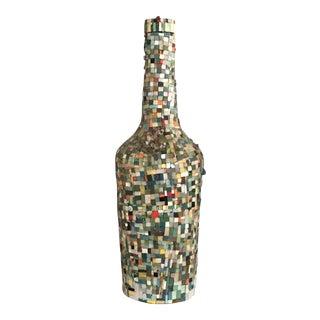 Antique Imperial Bordeaux Sculptural Wine Bottle Encrusted With Mosaic Stones For Sale