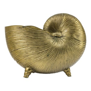 1960s Vintage Large Brass Nautilus Shell Planter For Sale