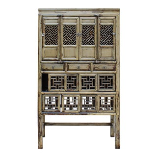 Chinese Distressed Light Green Lacquer Storage Open Panel Doors Cabinet