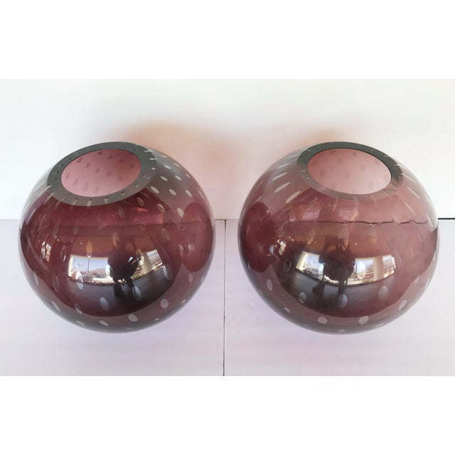 Contemporary Italian Pulegoso Amethyst Murano Glass Vases by Alberto Dona - a Pair For Sale - Image 3 of 11