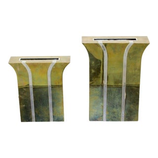 Contemporary Modernist Mixed Metal Brass Decorative Vases Made in Italy 1980s For Sale