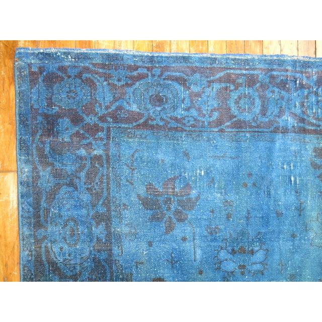 """Blue Cobalt Blue Overdyed Vintage Rug - 6'4"""" x 10'6"""" For Sale - Image 8 of 10"""