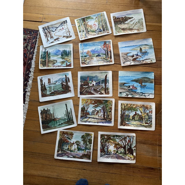1950s Collection of Watercolors by Walter Killam - Set of 15 For Sale - Image 11 of 11