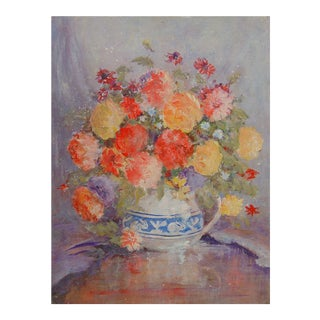 Impressionist Still Life With Flowers Painting For Sale