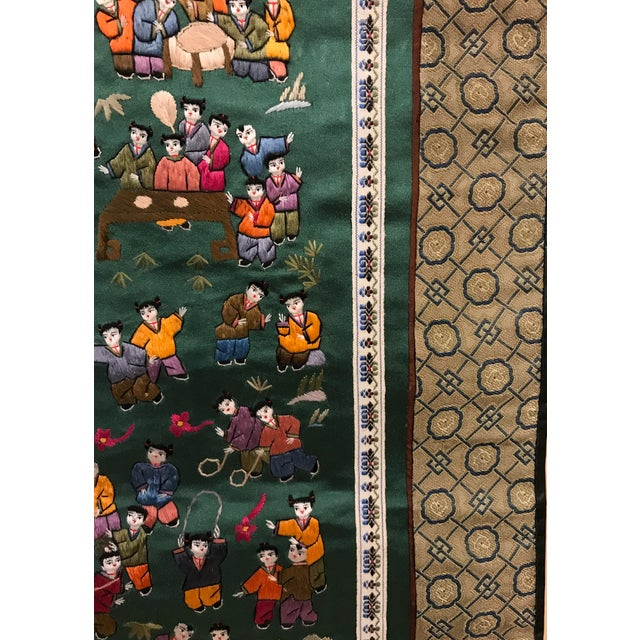 Vintage Chinese Embroidered Wall Hanging For Sale In Dallas - Image 6 of 8