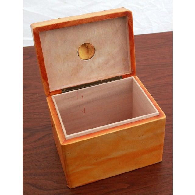 Burlwood Vintage Leather & Burlwood Trinket Box For Sale - Image 7 of 7