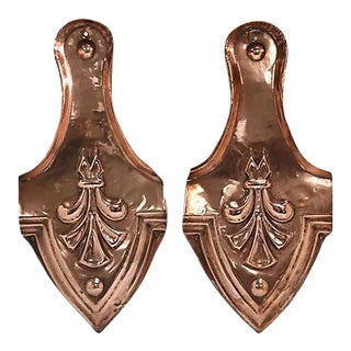 Antique Copper Arts & Crafts Wall Ornaments - A Pair For Sale