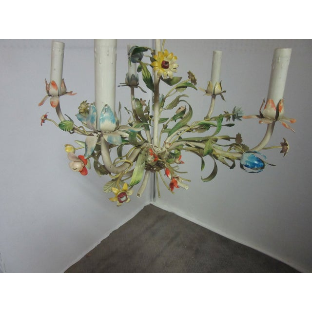 Very delicate mid-century Italian tole chandelier with very delicate multi-color flowers. Comes with a matching canopy and...
