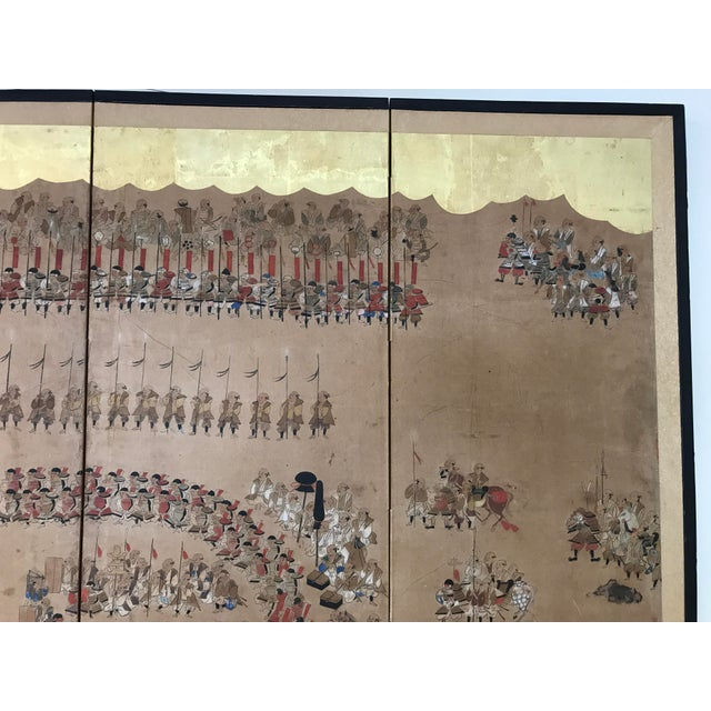 Early 19th Century Japanese 4 Panel Screen For Sale - Image 5 of 8