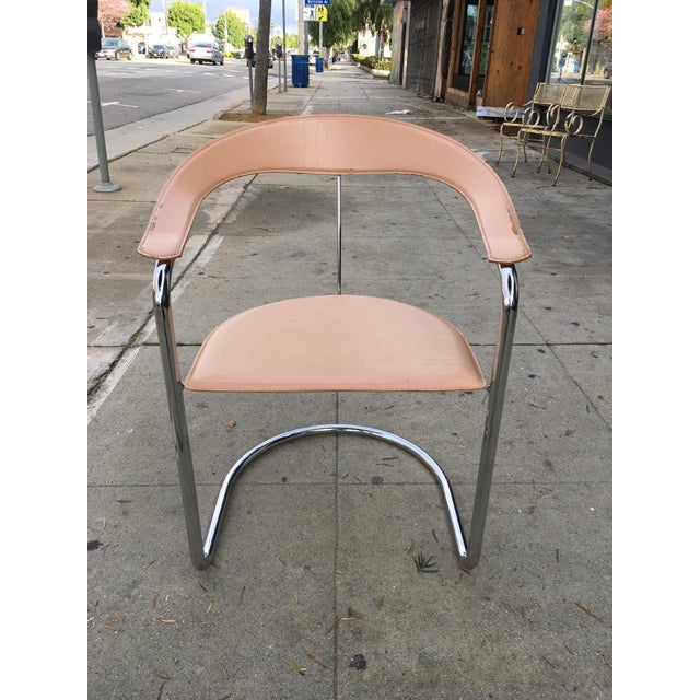 Contemporary Arrben of Italy Chrome & Nude Leather Canasta Chair For Sale - Image 3 of 9