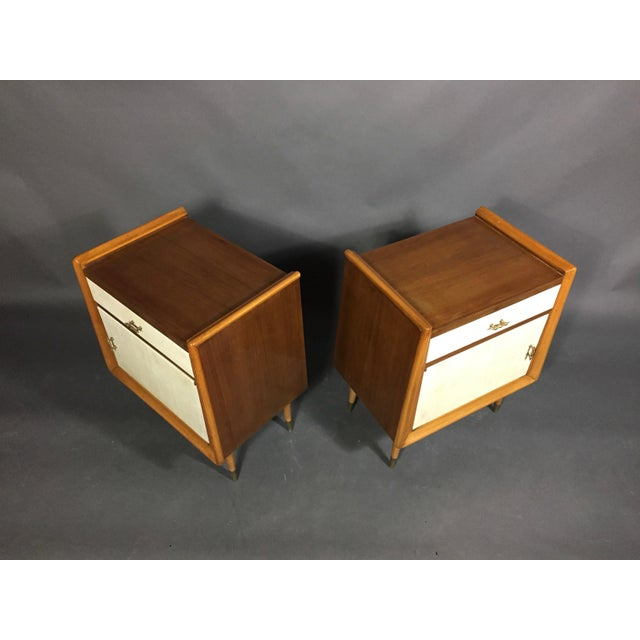Pair Italian 1960 Parchment and Maple Nightstands For Sale - Image 4 of 9