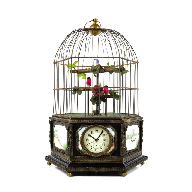Traditional Antique Animated Bird Cage Music Box With Clock For Sale - Image 3 of 10