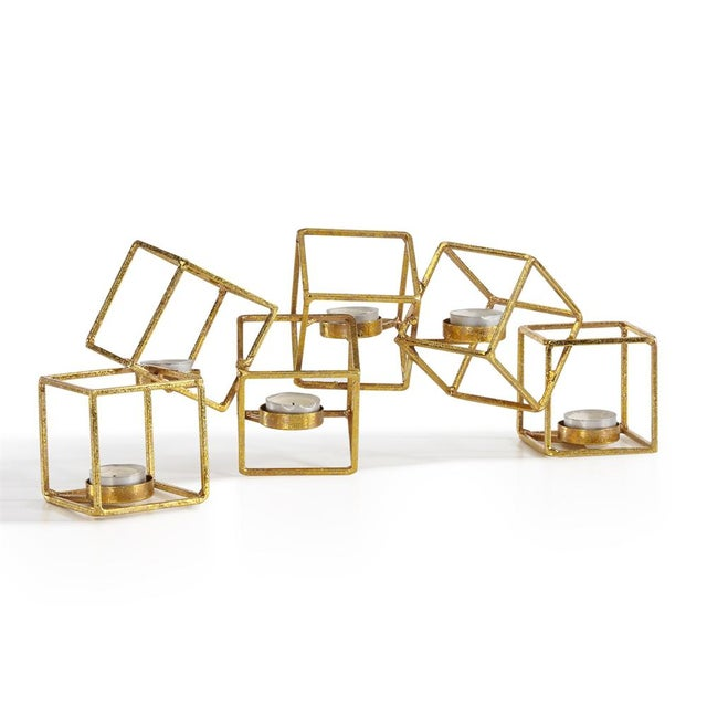 Sparkling Gold 6 Cube Candle Holder - Image 2 of 3