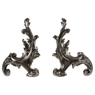 19th Century French Rococo Style Nickel Finish Chenets - a Pair For Sale