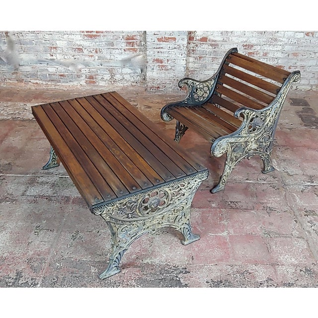 19th Century Fabulous Cast Iron & Wood Patio / Garden 3 Pieces Set For Sale In Los Angeles - Image 6 of 11