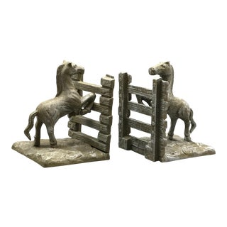 Equestrian Foals Bookends, a Pair For Sale