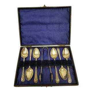 Antique Boxed Epns Silver Plated Teaspoons and Sugar Tongs - Set of 7 For Sale