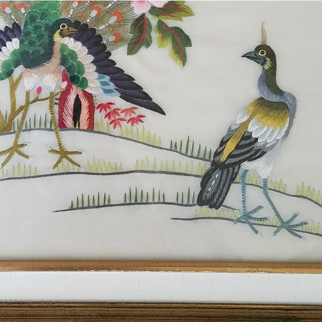 Vintage Chinese Suzhou Embroidery Peacock Art For Sale In Dallas - Image 6 of 10