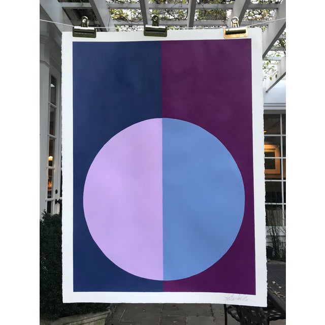 "Original ""Variation on a Circle: Violet and Indigo"" Painting - Image 3 of 5"