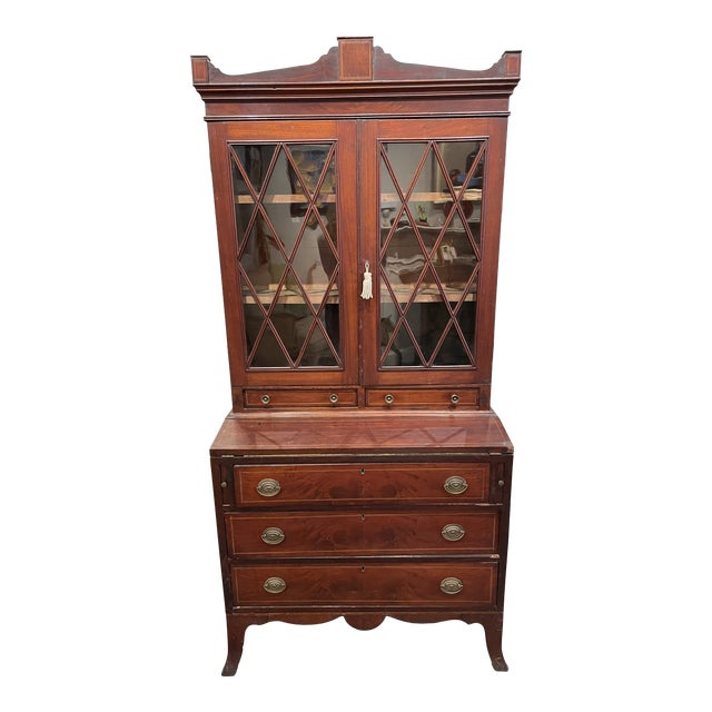 19th Century Federal Mahogany Two Part Secretary Desk For Sale