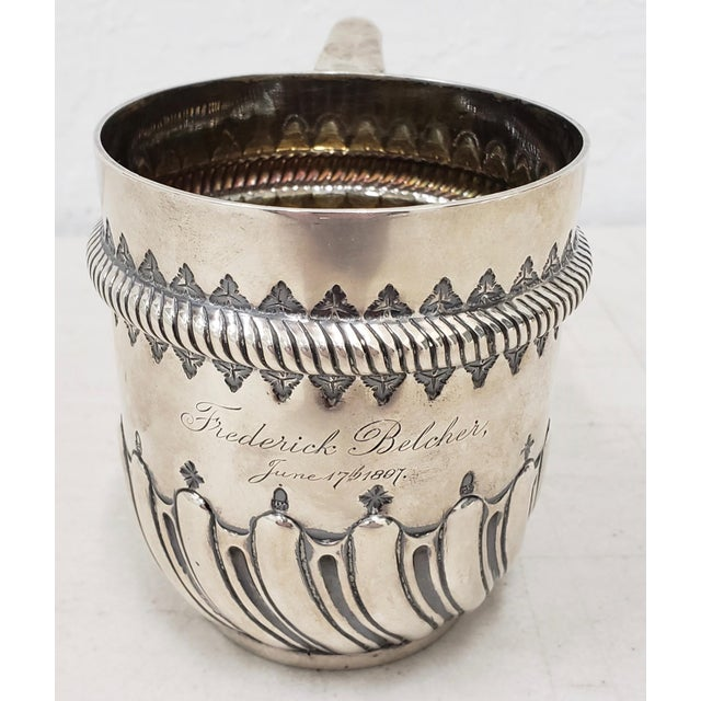 Gothic Late 19th Century Hand Tooled Sterling Silver Christening Cup C.1897 For Sale - Image 3 of 12