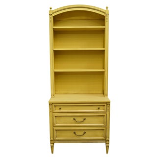 20th Century French Provincial Basic-Witz Cream / Yellow Painted 3-Drawer Chest With Bookcase For Sale