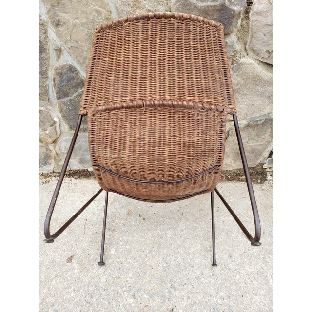 Mid Century Frederic Weinberg Wrought Iron & Rattan Lounge Chair For Sale In New York - Image 6 of 13