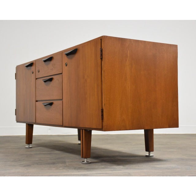 Jens Risom Petite Walnut Credenza by Jens Risom For Sale - Image 4 of 12