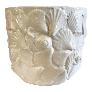 1960s White Ceramic Shell Plant Pot For Sale