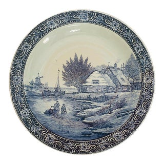 20th Century Folk Art Ceramic Plate Blue and White Dutch Delft Charger For Sale