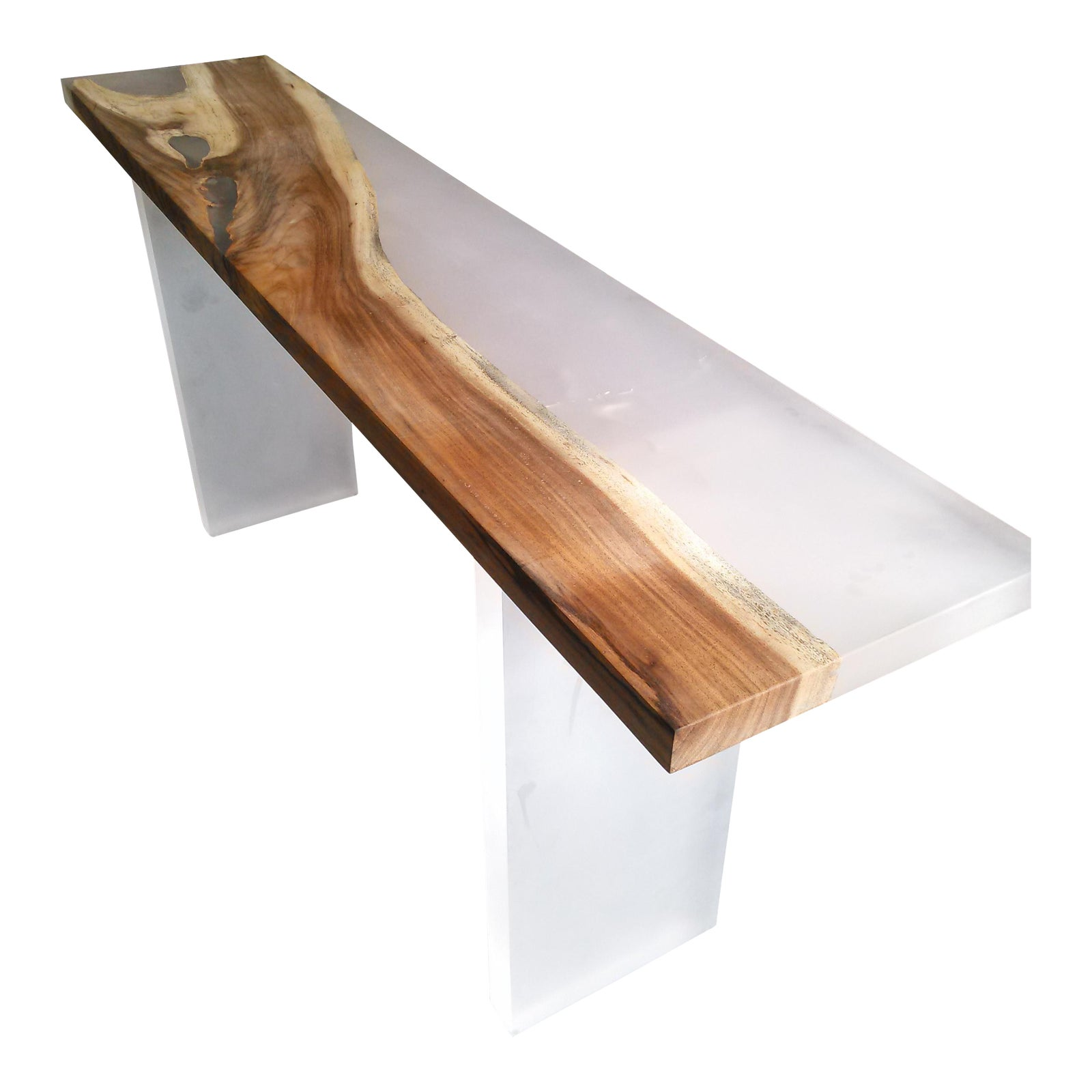 Acrylic wood console table chairish