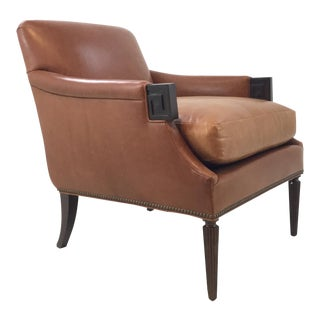 Transitional Hickory Chair Gregory Leather Lounge Chair For Sale