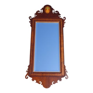 Vintage Federal Style Chippendale Mahogany Pineapple Inlay Beveled Wall Mirror For Sale