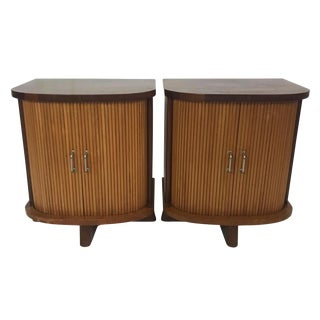 1960s Danish Modern Nightstands With Tambour Doors - a Pair For Sale