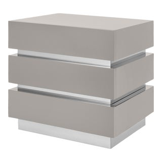 Flair Collection Banded Nightstand in Taupe / Nickel For Sale