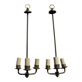 Hanging Brass Candelabras - a Pair For Sale